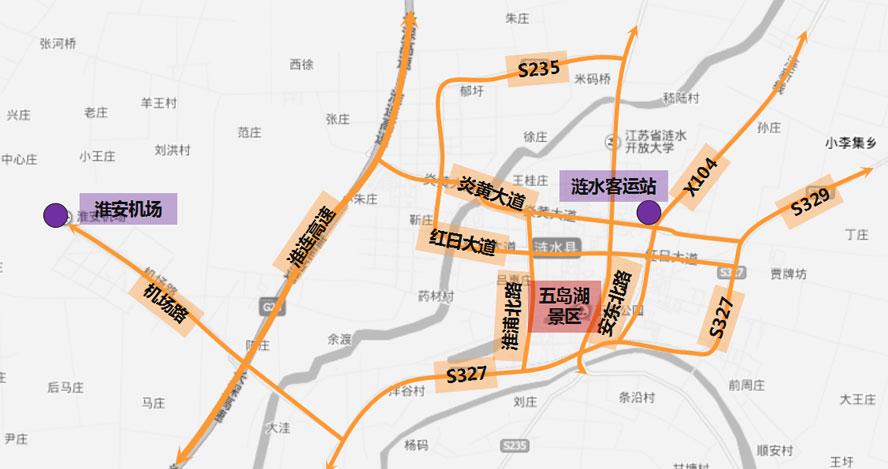 Lianshui Traffic MapLianshui Wudaohu Tourism Area - Huaian map